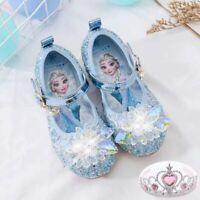Kids Girl Sandals Froze22 Princess Elsa Fancy Up Party Sequin Glitter Elsa Shoes