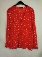 Mint Velvet ladies Blouse button up long sleeve red Polka Dot size 8 003