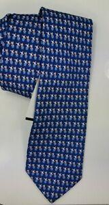 🆕️ * FERRAGAMO PUPPIES BLUE* 100% Silk Italy Men's Necktie Tie