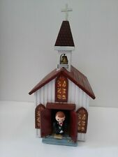 "Vintage Wooden Music Box Church Movable Minister plays ""Amazing Grace"""