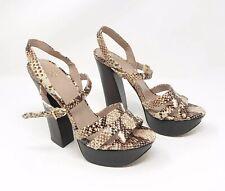 Vince Camuto Women's Miner Natural Sandals Size 7.5 Heels Platform Animal Print