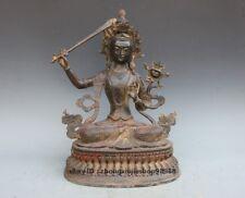Tibet Nepal old purple Bronze Buddhism Manjushri Goddess Kwan-yin Statue