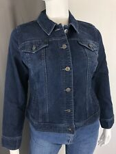 Style & Co. S Small Denim Jacket Embroidered Cross Stitch Diamond Jean Coat Dark