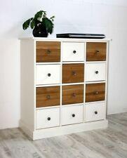 Massivholz Kommode mit 12 Schubladen weiß, Eiche Anrichte Flur Sideboard Schrank