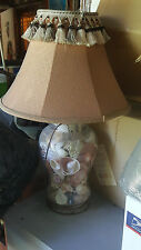 Seashell FILLED Glass Lamp Reproduction VTG Shade Needs Restoration LOCAL PICKUP