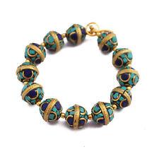 Turquoise Lapis Brass 12 Beads Tibetan Nepalese Handmade Tibet Nepal UB2530