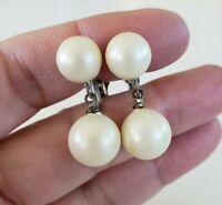 Vtg Faux White Matte Pearl Dangle Drop Silver Tone Clip Earrings