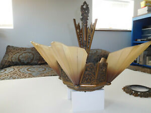 Vtg Antique Art Deco Slip Shade 5-Light Chandelier Fixture Lamp Soleure Virden