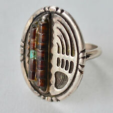 *Vintage Early Native American Bear Claw Coral Ring Size 5.5 Turquoise Bead