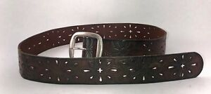 Fossil Belt Floral Perforated Leather Belt Brown Size S