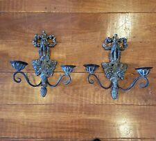Vtg 2 ARM WALL SCONCES Bow Top Grapes Large Ornate Double CANDLE HOLDERS