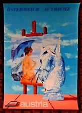 Vintage Leherb AUSTRIA TRAVEL POSTER woman sensual nude Art flag horse c 1970's
