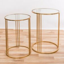 Gold Gilt Leaf Parisienne Metal Glass Top Round Side/coffee Tables Nest of 2