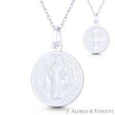 ST San Benedetto ESORCISMO cattolico protezione MEDAGLIA D/'ARGENTO PLACCATO Croce pendente a
