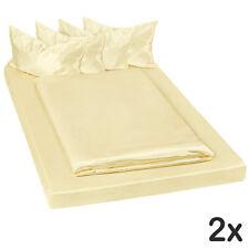 2x Parure lit 100% satin polyester housse de couette 200x150 taie oreiller jaune