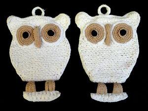 Potholder Owl Pair Figural Crochet Cotton 8in Hand Crafted Kitchen Decor Vtg