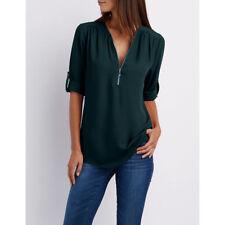 Plus Size Women Chiffon Long Sleeve Loose Blouse Ladies V Neck Tunic Tops Shirt