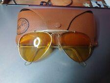 Vintage Ray Ban Usa Aviator Style Shooter Sunglasses Yellow