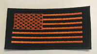 Custom  Biker Vest Patch US Flag ORANGE on BLACK (Iron/Sew on)