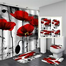 Red Poppies Bathroom Shower Curtain Bath Curtains Rugs Toilet Seat Cover Decor