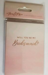 Set Of 5 Will You Be My Bridesmaid Proposal Cards Invitation Card Pink Gold