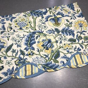 "Waverly Imperial Dress Jacqueline Valance 52"" Porcelain Blue Yellow Scalloped"