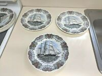 3 Churchill Currier Ives Tall Ship Plates Theoxena Dinner plates 10 in mint