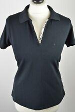 Premium women's Burberry London black nova check trim polo shirt large