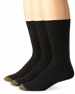 $45 Gold Toe Men's Black Crew Metropolitan Dress Casual Socks 3 Pack Shoe 6-12