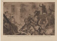 "1916 WWI Print Hand to hand fighting at Rancourt/Combles + Hoisting 16"" Shell"