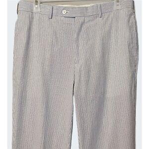 Brooks Brothers Mens Fitzgerald Fit Blue White Seersucker Striped Pants Sz 36x33