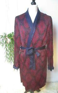 Vintage St Michael Mens Blue Red Paisley Moyen Smoking Jacket Dressing Gown M