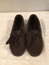 New Minnetonka Dark Brown Moosehide Boys Mocassins Boat Shoes Size 11