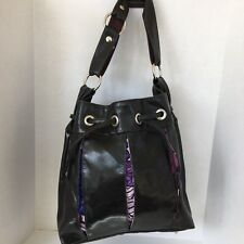 Crystalyn Kae Large Purse Bag Black Bucket Cross Body Hobo Soirée Drawstring