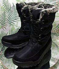 SPRING STEP BLACK FABRIC FAUX FUR WINTER BOOTS SHOES US WOMENS SZ 10.5 11 EU 42