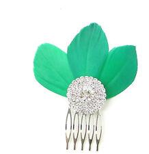 Vert Fascinator À Plumes Peigne À Cheveux Argent Art Déco Diamant 1920s