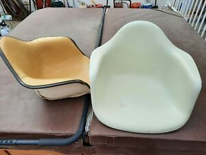 Rare 1950 Eames Fiberglass Herman Miller Arm Chair with Upholstery