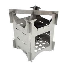 Outdoor Camping Stainless Steel Folding Wood Stove Portable Picnic Stove Silver