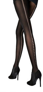 Pretty Polly Cut Out Backseam Tight One Size Black - PNAUX7
