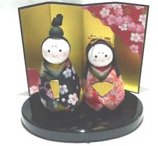 Standing Hina Dolls with Chirimen Kimono Cloth , Made in Japan    18996