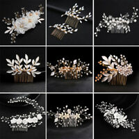 Crystal Pearl Flower Hair Comb Headpiece for Bridal Wedding Hair Piece