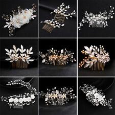 Crystal Pearl Flower Hair Comb Headpiece for Bridal Wedding Hair Piece