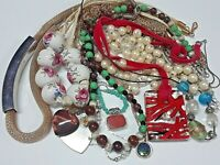 Lot of vintage necklaces. ceramic porcelain painted beads, glass pendant + more
