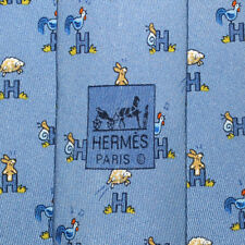 Hermes18 5029 PA Tie H Bunny Rooster Snail Sheep Blue Gray Silk Classic Necktie