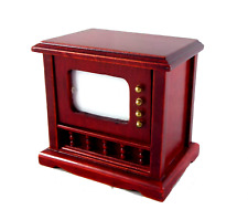 Dolls House Mahogany 1950 Television TV Miniature Living Room Furniture