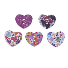"""Lot of 10 FLORAL HEART 2-hole 11/16"""" x 5/8"""" Wood Buttons Scrapbook Craft (1024)"""