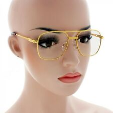 Metal Aviator Glasses Retro Vintage Style Clear Lens All Gold Frame 088