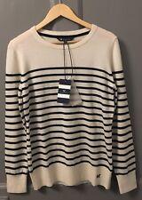 *NEW* CREW CLOTHING CO. MERINO CASHMERE JUMPER WHITE & NAVY SIZE 12 UK - RRP £75