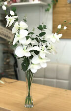 Artificial Flower Arrangement, White orchids, Green eucalytus, Glass Vase, Resin