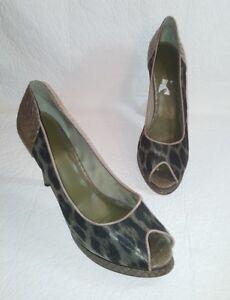 B. MAKOWSKY Women's 11 Leather Snake Cheetah Print BFPALEY Open Toe Heels